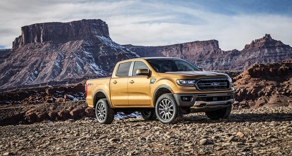 Ford's 2019 Ranger mid-size truck parked off-road.