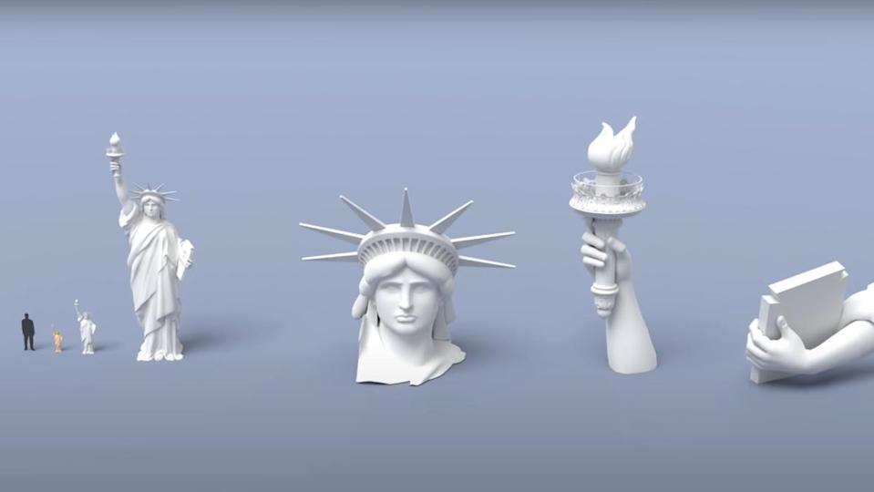 A visualization of the Statue of Liberty, both in real-size pieces, and miniaturized sculptures.