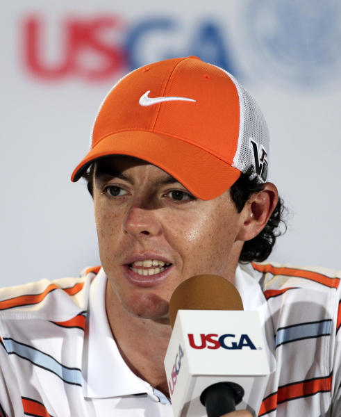 Rory McIlroy, of Northern Ireland, speaks during a news conference at the U.S. Open golf tournament at Merion Golf Club, Tuesday, June 11, 2013, in Ardmore, Pa. (AP Photo/Charlie Riedel)