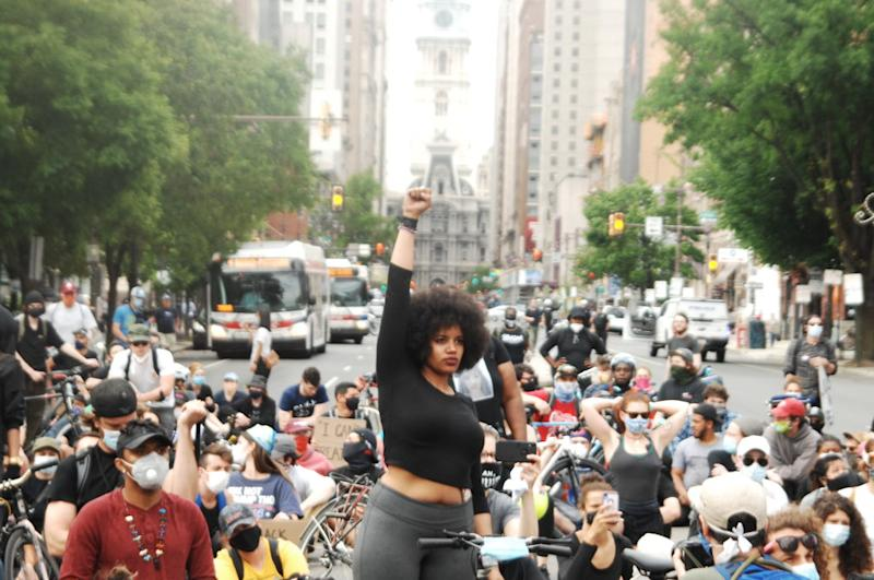 Protesters fill the streets of Philadelphia during Black Lives Matter protests. Source: Getty