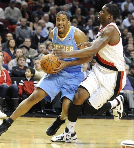 Denver Nuggets' Andre Miller (24) drives against Portland Trail Blazers' Wesley Matthews (2) during the first half of an NBA basketball game in Portland, Ore., Thursday, Dec 29, 2011. (AP Photo/Greg Wahl-Stephens)