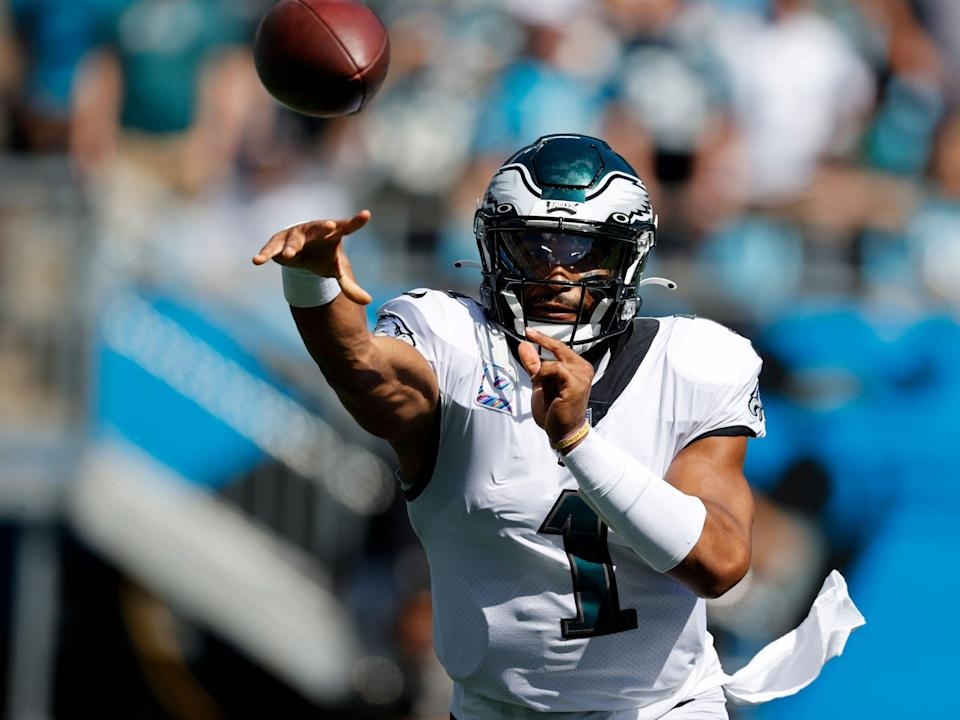 Jalen Hurts makes a throw against the Carolina Panthers.