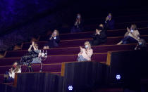 Vanderbilt medical workers seat in the audience at the 56th annual Academy of Country Music Awards on Sunday, April 18, 2021, at the Grand Ole Opry in Nashville, Tenn. (AP Photo/Mark Humphrey)
