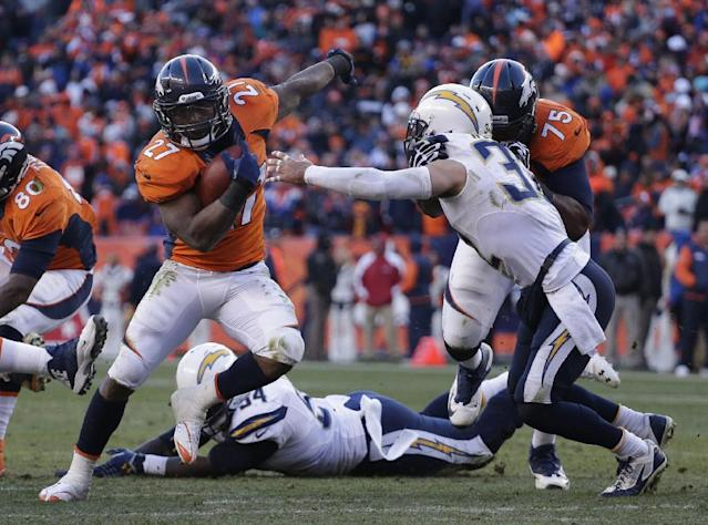 Denver Broncos running back Knowshon Moreno (27) sidesteps San Diego Chargers free safety Eric Weddle (32) in the second quarter of an NFL AFC division playoff football game, Sunday, Jan. 12, 2014, in Denver. (AP Photo/Charlie Riedel)