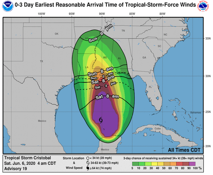 Tropical storm force winds could arrive along the Gulf Coast as early as Saturday night.