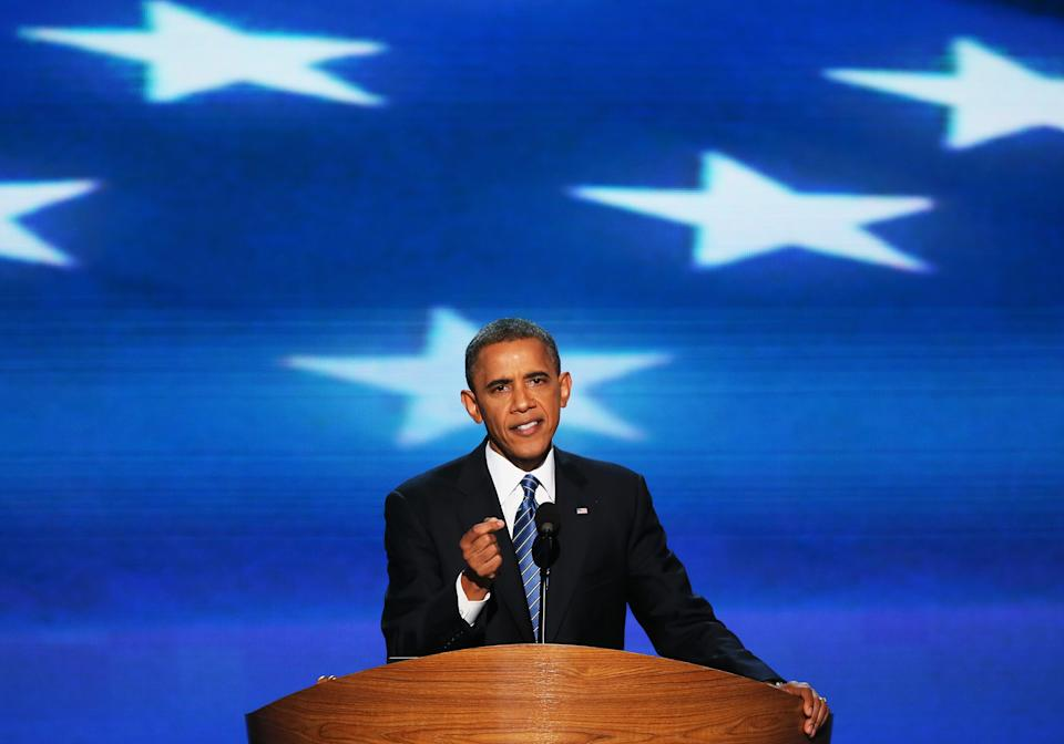 CHARLOTTE, NC - SEPTEMBER 06:  Democratic presidential candidate, U.S. President Barack Obama speaks on stage as he accepts the nomination for president during the final day of the Democratic National Convention at Time Warner Cable Arena on September 6, 2012 in Charlotte, North Carolina. The DNC, which concludes today, nominated U.S. President Barack Obama as the Democratic presidential candidate.  (Photo by Alex Wong/Getty Images)