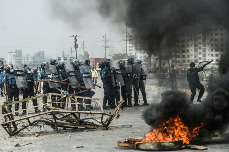 In a third day of protests, Islamists and police clashed in Bangladesh, with at least a dozen people reported injured