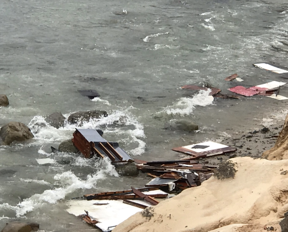 Debris is seen floating in the water near off Cabrillo National Monument at California's Point Loma.