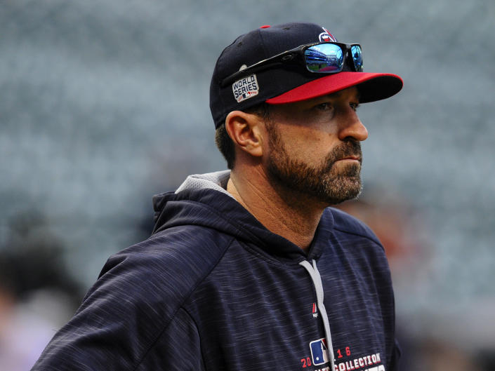 CLEVELAND, OH - NOVEMBER 1, 2016: Pitching coach Mickey Callaway #32 of the Cleveland Indians stands on the field prior to Game 6 of the World Series against the Chicago Cubs on November 1, 2016 at Progressive Field in Cleveland, Ohio. Chicago won 9-3.  _2315868 2016 Nick Cammett/Diamond Images/Getty Images