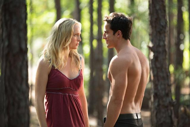 "Candice Accola as Caroline and Michael Trevino as Tyler/Klaus in ""Growing Pains,"" the Season 4 premiere episode of ""The Vampire Diaries."""