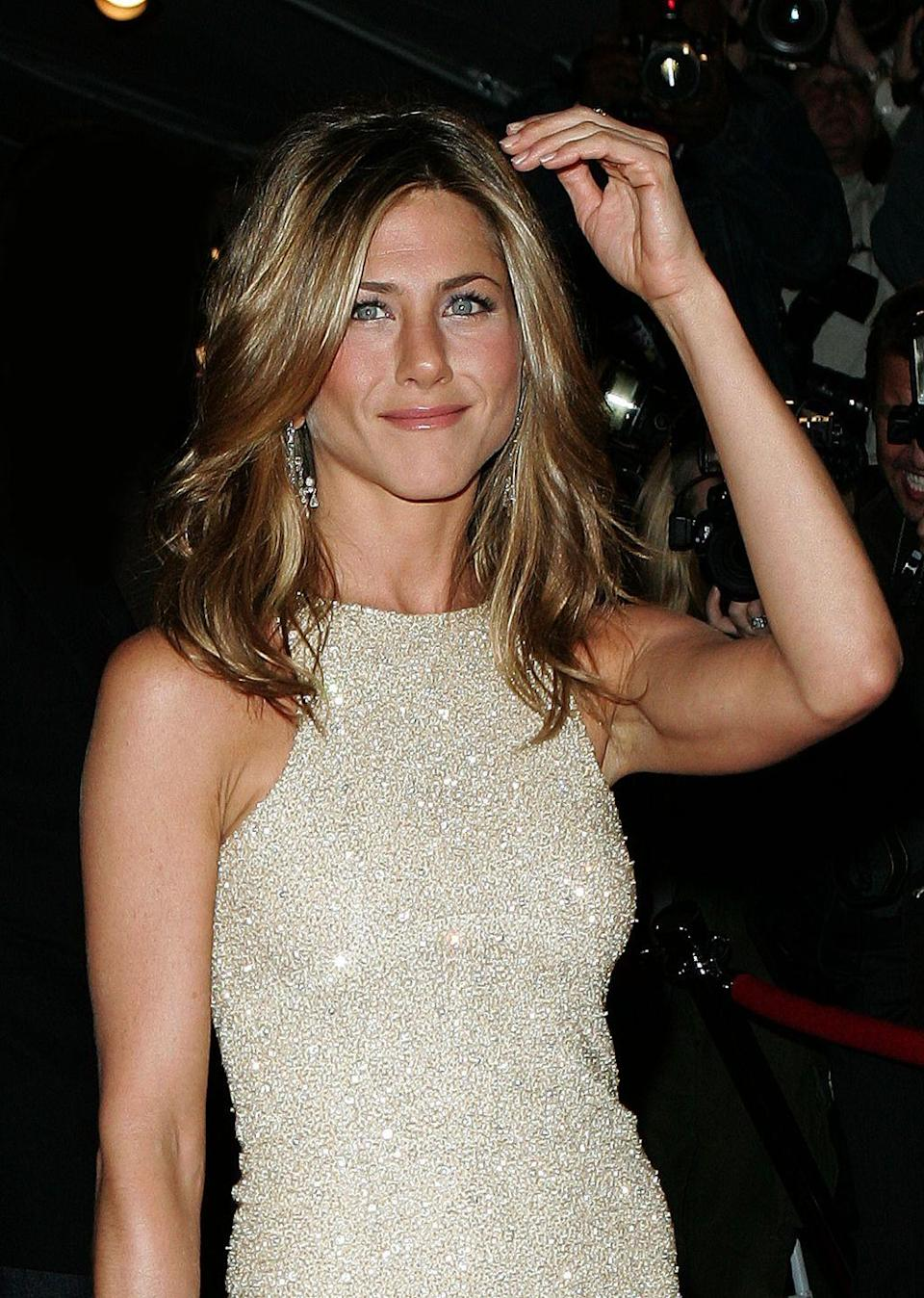 """<p>Aniston addresses the split in an interview with <em><a href=""""https://www.vanityfair.com/news/2005/09/aniston200509"""" rel=""""nofollow noopener"""" target=""""_blank"""" data-ylk=""""slk:Vanity Fair"""" class=""""link rapid-noclick-resp"""">Vanity Fair</a>, </em>and famously describes Pitt as """"missing a sensitivity chip"""" thanks to a <em>W</em> magazine spread featuring him and Jolie. </p><p>""""Brad is not mean-spirited; he would never intentionally try to rub something in my face,"""" she says. """"In hindsight, I can see him going, 'Oh—I can see that that was inconsiderate.' But I know Brad. Brad would say, 'That's art!' There's a sensitivity chip that's missing.""""</p>"""