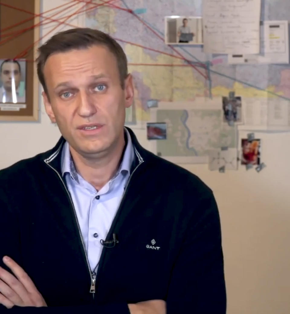 In this image taken from a video released on Dec. 21, 2020 by Russian opposition activist Alexei Navalny on his Instagram account, Russian opposition activist Alexei Navalny tells how he spoke with as Konstantin Kudryavtsev, a trained chemical-weapons specialist. Russian opposition leader Alexei Navalny on Monday released a recording of a phone call he said he made to an alleged state security operative who revealed details of how the politician was poisoned. (Navalny Instagram account via AP)