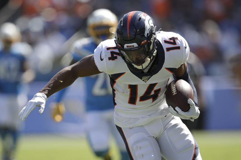 Denver Broncos wide receiver Courtland Sutton scores against the Los Angeles Chargers during the first half of an NFL football game Sunday, Oct. 6, 2019, in Carson, Calif. (AP Photo/Marcio Jose Sanchez)