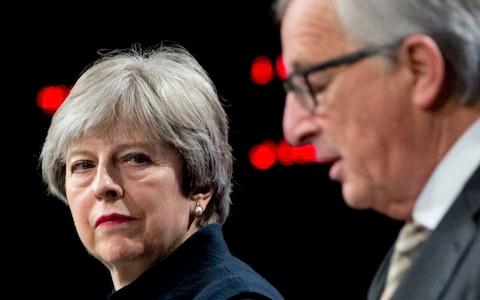may and juncker - Credit: AP