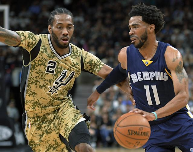 Kawhi Leonard's Spurs will look to eliminate Mike Conley and the Grizzlies in the first round for the second straight year. (AP)