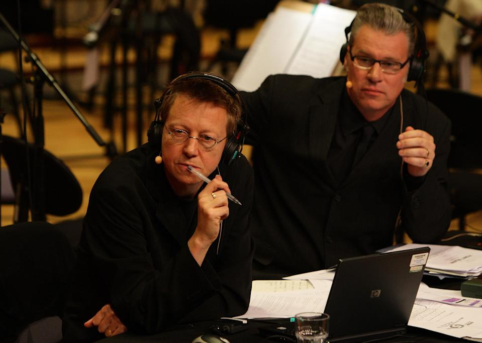 Film critic Mark Kermode (right) and Simon Mayo join the BBC Philharmonic orchestra at MediaCityUK in Salford, for the film review show on BBC Radio 5 live.   (Photo by Dave Thompson/PA Images via Getty Images)