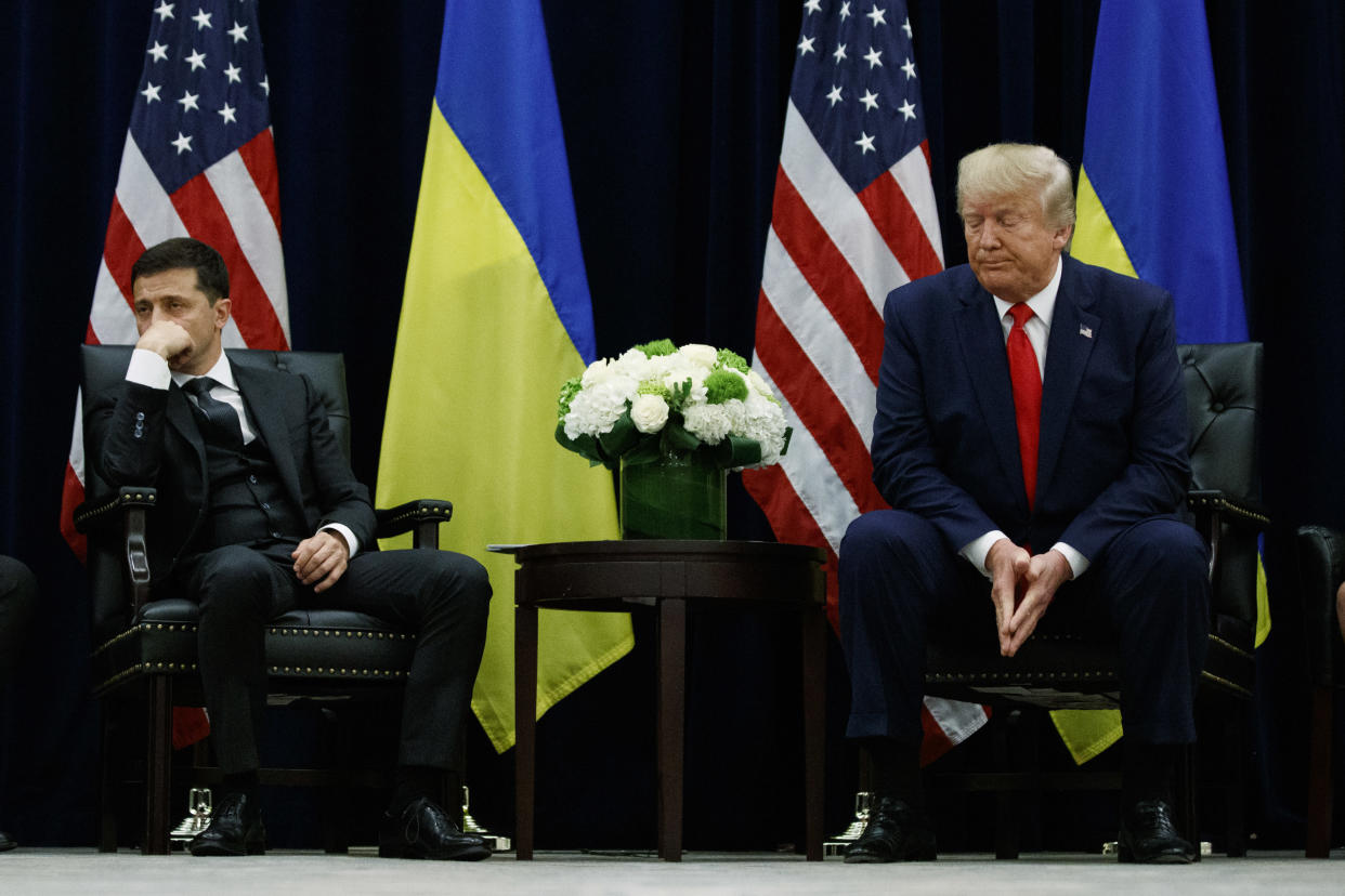 President Trump with Ukrainian President Volodymyr Zelensky, left, during the United Nations General Assembly, Sept. 25, 2019. (Photo: Evan Vucci/AP)