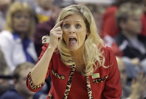 North Carolina State head coach Kellie Harper directs her team during the first half of an NCAA Atlantic Coast Conference women's tournament basketball game against Georgia Tech in Greensboro, N.C., Saturday, March 3, 2012. (AP Photo/Chuck Burton)