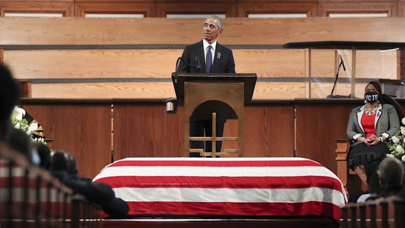 A man talks himself free again: Former US President Barack Obama at the Ebenezer Baptist Church in Atlanta, when he mourned the late Congressman John Lewis.  © Alyssa Pointer-Pool / Getty Images