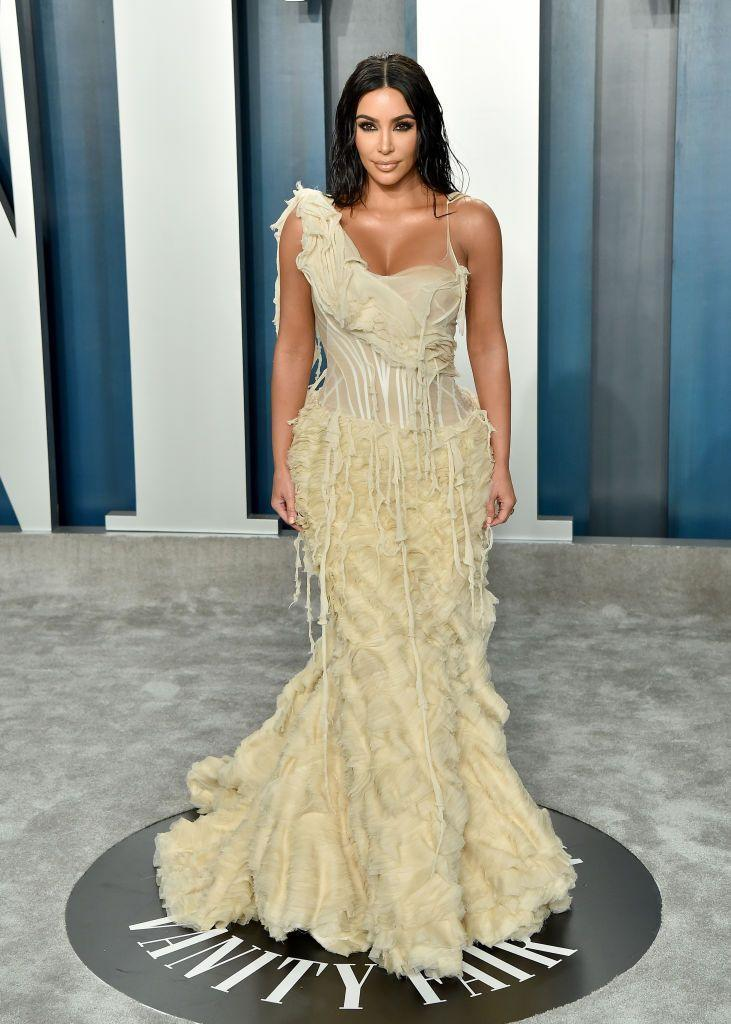 """<p>The make-up mogul wore an <a href=""""https://www.elle.com/uk/fashion/a30847184/oscars-sustainable-red-carpet/"""" rel=""""nofollow noopener"""" target=""""_blank"""" data-ylk=""""slk:Alexander McQueen"""" class=""""link rapid-noclick-resp"""">Alexander McQueen</a> dress from his SS04 'Shipwrecked' collection to the 92nd Acadamy Awards after party. </p>"""