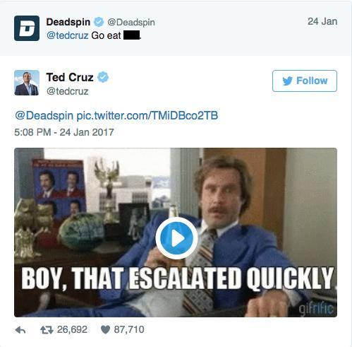 Ted Cruz's Twitter reply to Deadspin. (Screengrab)
