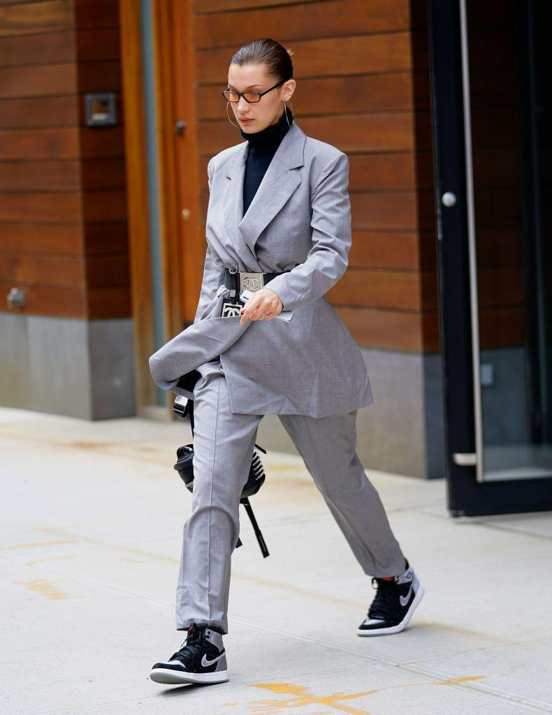 <p>The model dressed down a full suit in New York in June, 2018.</p>