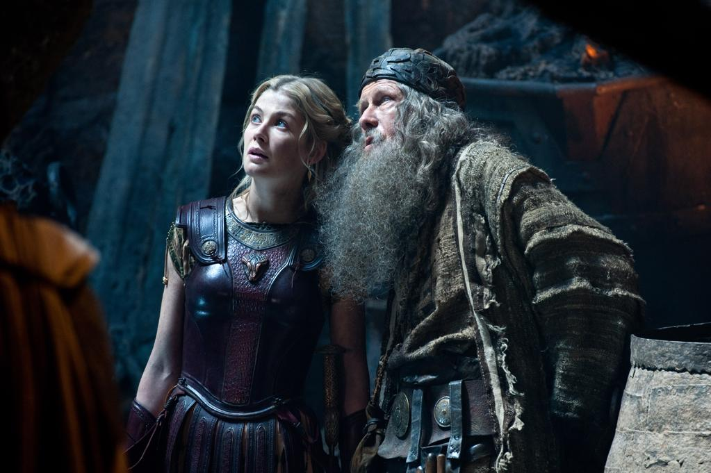 """Rosamund Pike and Bill Nighy in Warner Bros. Pictures' <a href=""""http://movies.yahoo.com/movie/wrath-of-the-titans/"""">Wrath of the Titans</a> - 2012"""