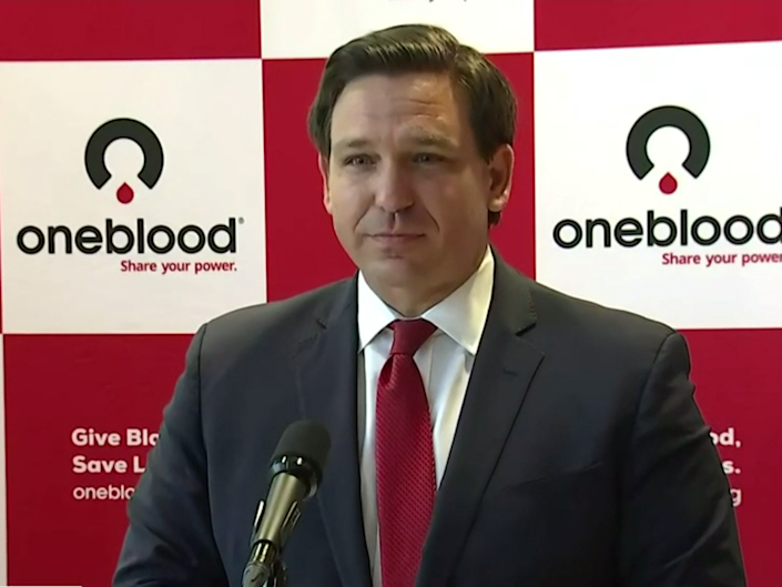 Florida governor Ron DeSantis speaking at a press conference on Monday 20 July 2020: (clickorlando)