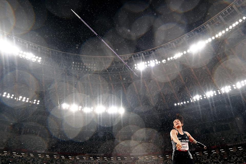 Holly Robinson of Team New Zealand throws to with the gold medal as she competes in the Javelin at the Tokyo 2020 Paralympic Games.
