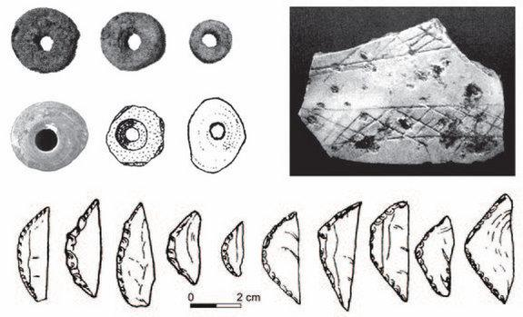 40,000 to 50,000 year old stone tools and abstract artistic decorations from South Asia (shown) closely resemble slightly older finds in South and East Africa