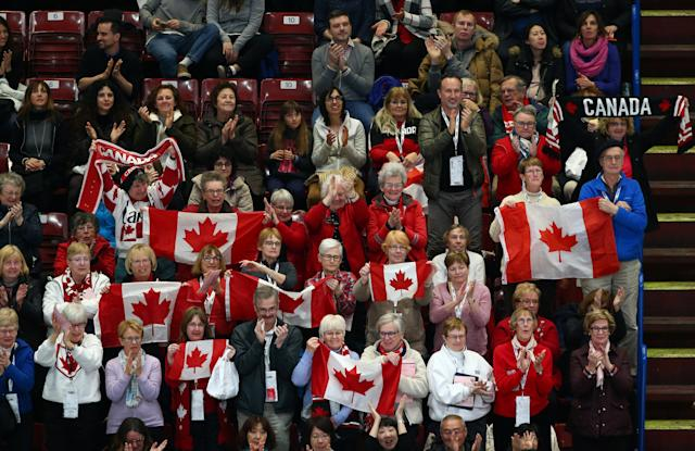 Figure Skating - World Figure Skating Championships - The Mediolanum Forum, Milan, Italy - March 21, 2018 Canada fans during the Ladies Short Programme REUTERS/Alessandro Bianchi