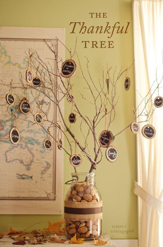 """<p>Remind your guests the true meaning of Thanksgiving by presenting this wonderful tree that lists all of the best things in life. </p><p><strong>Get the tutorial at <a href=""""http://www.simplyvintagegirl.com/blog/index.php/2012/11/16/the-thankful-tree-with-chalk/"""" rel=""""nofollow noopener"""" target=""""_blank"""" data-ylk=""""slk:Simply Vintage Girl"""" class=""""link rapid-noclick-resp"""">Simply Vintage Girl</a>.</strong></p><p><a class=""""link rapid-noclick-resp"""" href=""""https://www.amazon.com/Fuhaieec-Unfinished-Natural-Circles-Ornaments/dp/B01MCW5O0Q/?tag=syn-yahoo-20&ascsubtag=%5Bartid%7C10050.g.1371%5Bsrc%7Cyahoo-us"""" rel=""""nofollow noopener"""" target=""""_blank"""" data-ylk=""""slk:SHOP WOOD SLICES"""">SHOP WOOD SLICES</a></p>"""