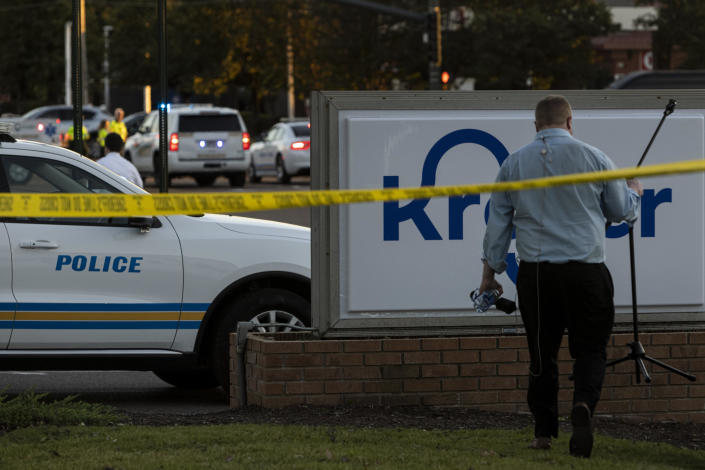 Crime scene tape outside of a Kroger grocery store where a shooting occurred on September 23, 2021, in Collierville, Tennessee. / Credit: Brad Vest / Getty
