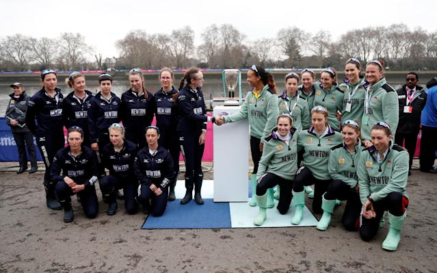 Rowing - 2018 Oxford University vs Cambridge University Boat Race - London, Britain - March 24, 2018 Oxford and Cambridge women's teams pose before the women's boat race REUTERS/Matthew Childs