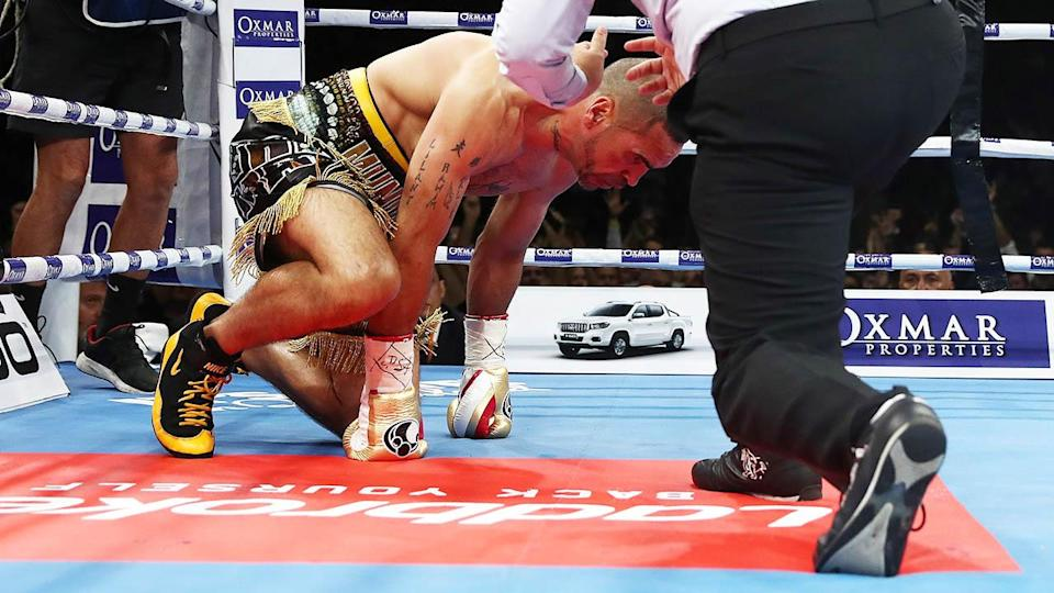 Anthony Mundine lasted just 96 seconds. (Photo by Chris Hyde/Getty Images)