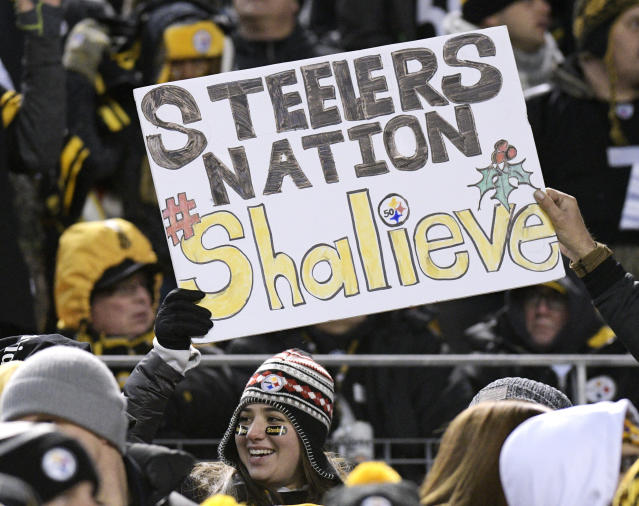 Pittsburgh Steelers fans hold a sign supporting injured Steelers linebacker Ryan Shazier, who suffered a significant spinal injury on Dec. 4. (AP)