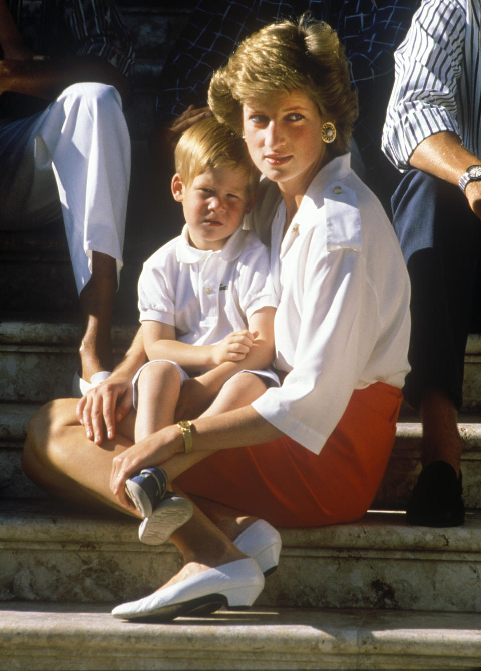Charles, Prince of Wales, and Diana, Princess of Wales, on holiday in Majorca, Spain, with their sons Prince William and Prince Harry, They are guests of King Juan Carlos of Spain and his wife Queen Sofia, They are staying at their holiday home, the Marivent Palace, which is situated just outside the capital city of Palma, 13th August 1988. (Photo by John Shelley Collection/Avalon/Getty Images)