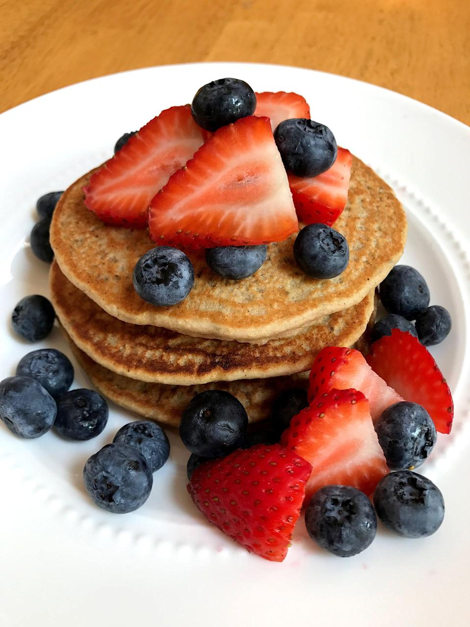 "<p>These fluffy pancakes are made with whole wheat flour, protein powder, and chia seeds. </p> <p><strong>Calories:</strong> 104 per pancake<br> <strong>Protein:</strong> 5.1 grams</p> <p><strong>Get the recipe:</strong> <a href=""https://www.popsugar.com/fitness/Vegan-Protein-Pancakes-44039335"" class=""link rapid-noclick-resp"" rel=""nofollow noopener"" target=""_blank"" data-ylk=""slk:vegan protein pancakes"">vegan protein pancakes</a></p>"