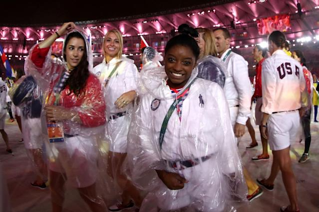 <p>Simone Biles of Team United States walks during the 'Heroes of the Games' segment during the Closing Ceremony on Day 16 of the Rio 2016 Olympic Games at Maracana Stadium on August 21, 2016 in Rio de Janeiro, Brazil. (Photo by Ezra Shaw/Getty Images) </p>