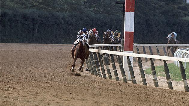 Secretariat wins the Belmont Stakes with Ron Turcotte aboard on June 9, l973 at Belmont Park in Elmont, New York. (Credit: Getty)