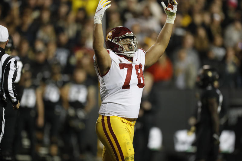 USC defensive lineman Jay Tufele has strong NFL potential, even if his production is lacking. (AP Photo/David Zalubowski)