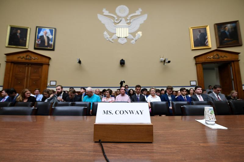 The witness seat for White House counselor Kellyanne Conway is ready before the start of the House Oversight hearing on Conway's Hatch Act violations, on Capitol Hill on July 15, 2019. (Photo: AP Photo/Susan Walsh)