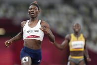 Beatrice Masilingi, of Namibia, compete in a semifinal of the women's 200-meters at the 2020 Summer Olympics, Monday, Aug. 2, 2021, in Tokyo. (AP Photo/Petr David Josek)