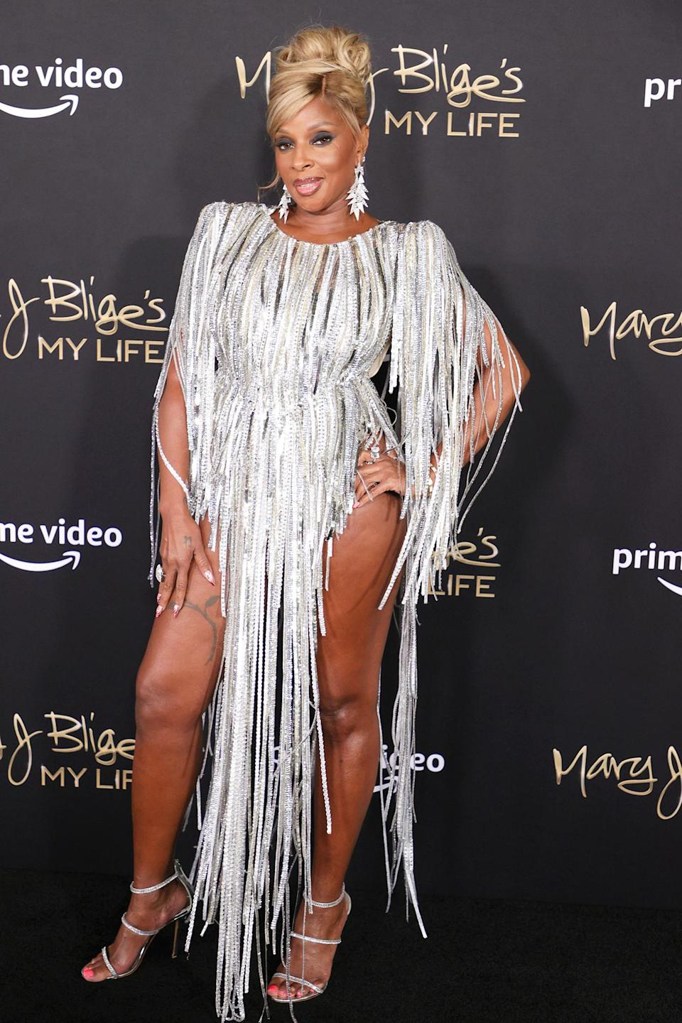 <p>Mary J. Blige dazzles in a metallic dress at the premiere of her documentary <i>My Life</i> on June 23 at Jazz at Lincoln Center in N.Y.C.</p>