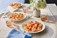 """<p><strong>Recipe: </strong><a href=""""https://www.southernliving.com/recipes/pasta-shrimp-tomato-cream-sauce-recipe"""" rel=""""nofollow noopener"""" target=""""_blank"""" data-ylk=""""slk:Pasta with Shrimp and Tomato Cream Sauce"""" class=""""link rapid-noclick-resp""""><strong>Pasta with Shrimp and Tomato Cream Sauce</strong></a></p> <p>There are plenty of delicious ways to serve fresh Gulf shrimp in the summertime, and this one just happens to pair beautifully with your favorite rosé.</p>"""