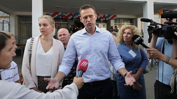 PHOTO: Russian opposition candidate Alexei Navalny speaks to reporters after voting in the Moscow City Duma elections in Moscow, Sept. 8, 2019. (Yuri Kochetkov/EPA via Shutterstock)