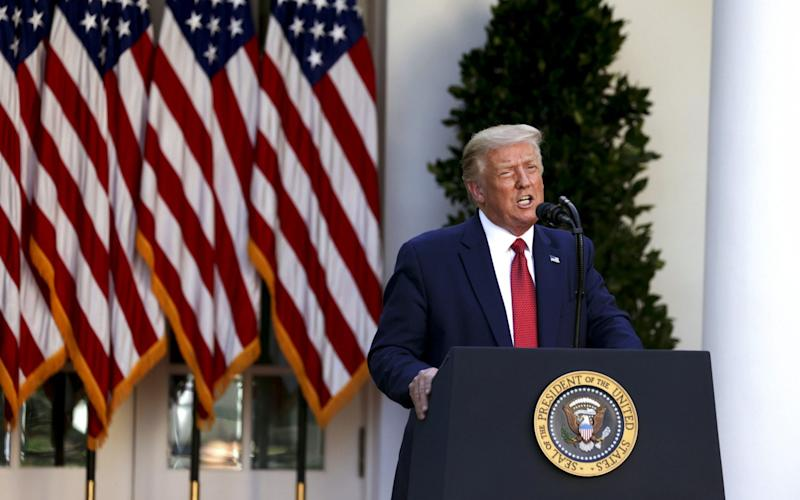 Donald Trump speaks during a news conference in the Rose Garden of the White House - Tasos Katopodis/UPI/Bloomberg