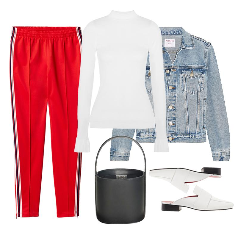 "<a rel=""nofollow"" href=""http://rstyle.me/~9MTxK"">The Composed Ribbed-Knit Sweater, Maggie Marilyn, $180<p>Yes, track pants can <em>technically</em> be considered gym attire, but when a denim jacket, frilled ribbed knit and structured extras are part of the equation, they look much more elevated.</p> </a><a rel=""nofollow"" href=""http://rstyle.me/~9MTxV"">Rigid Re-Release Denim Jacket, Frame, $345<p>Yes, track pants can <em>technically</em> be considered gym attire, but when a denim jacket, frilled ribbed knit and structured extras are part of the equation, they look much more elevated.</p> </a><a rel=""nofollow"" href=""http://us.aritzia.com/product/tushar-pant/61992.html?dwvar_61992_color=11343"">Tushar Pant, Tna, $75<p>Yes, track pants can <em>technically</em> be considered gym attire, but when a denim jacket, frilled ribbed knit and structured extras are part of the equation, they look much more elevated.</p> </a><a rel=""nofollow"" href=""http://rstyle.me/~9MTyM"">Filiskiye Leather Slippers, Dorateymur, $455<p>Yes, track pants can <em>technically</em> be considered gym attire, but when a denim jacket, frilled ribbed knit and structured extras are part of the equation, they look much more elevated.</p> </a><a rel=""nofollow"" href=""https://staud.clothing/product/2152"">The Bissett Bag, Staud, $350<p>Yes, track pants can <em>technically</em> be considered gym attire, but when a denim jacket, frilled ribbed knit and structured extras are part of the equation, they look much more elevated.</p> </a><p>     <strong>Related Articles</strong>     <ul>         <li><a rel=""nofollow"" href=""http://thezoereport.com/fashion/style-tips/box-of-style-ways-to-wear-cape-trend/?utm_source=yahoo&utm_medium=syndication"">The Key Styling Piece Your Wardrobe Needs</a></li><li><a rel=""nofollow"" href=""http://thezoereport.com/beauty/skincare/supergoop-sunscreen-mousse/?utm_source=yahoo&utm_medium=syndication"">The One Product You Need To <i>Never</i> Get Sunburned Again</a></li><li><a rel=""nofollow"" href=""http://thezoereport.com/entertainment/culture/kendall-jenner-quick-ab-workout/?utm_source=yahoo&utm_medium=syndication"">The 11-Minute Kendall Jenner Workout You Can Do Anywhere</a></li>    </ul> </p>"