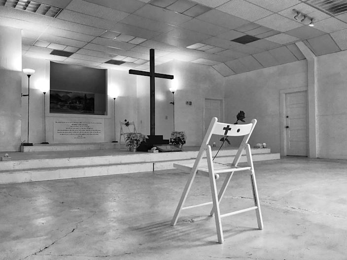 The First Baptist Church in Sutherland Springs, Texas, the site of last November's deadly mass shooting, has turned its sanctuary into a memorial for the 26 victims. (Photo: Holly Bailey/Yahoo News)