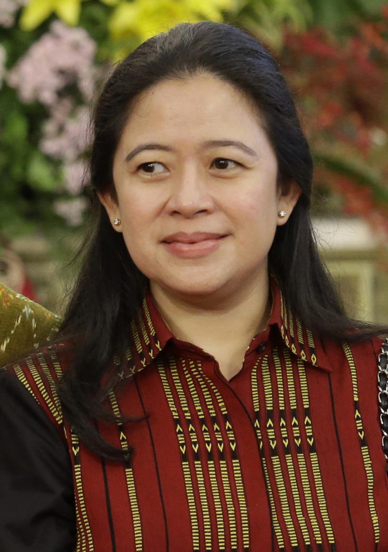 FILE - In this Wednesday, Nov. 23, 2016 file photo, Coordinating Minister for Human Development and Cultural Affairs Puan Maharani attends an event at the presidential palace in Jakarta, Indonesia. Indonesia's Parliament on Tuesday elected Maharani as the country's first female speaker of the House. (AP Photo/Dita Alangkara, FILE)
